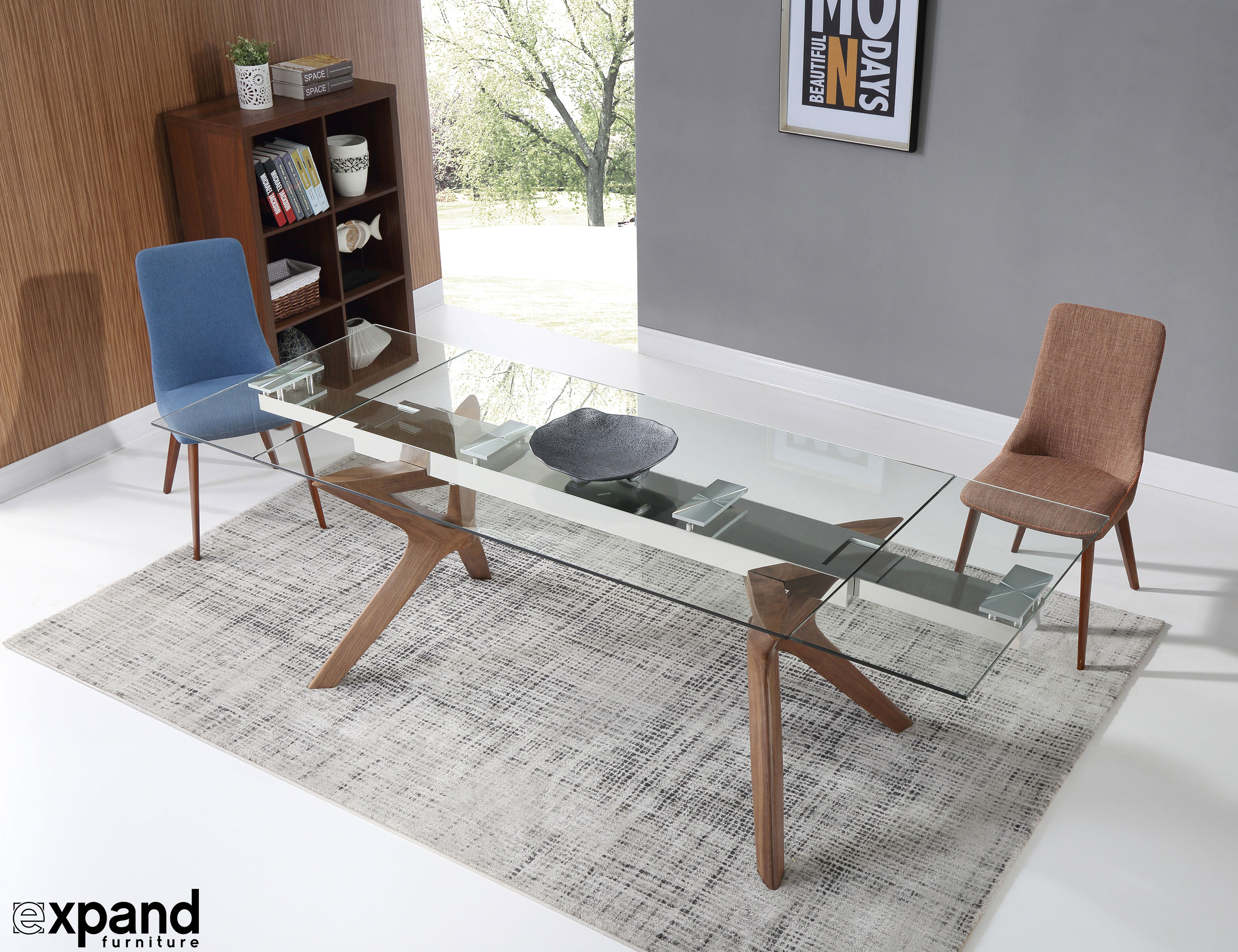 The Bridge: Clear Glass Rectangular Extendable Table