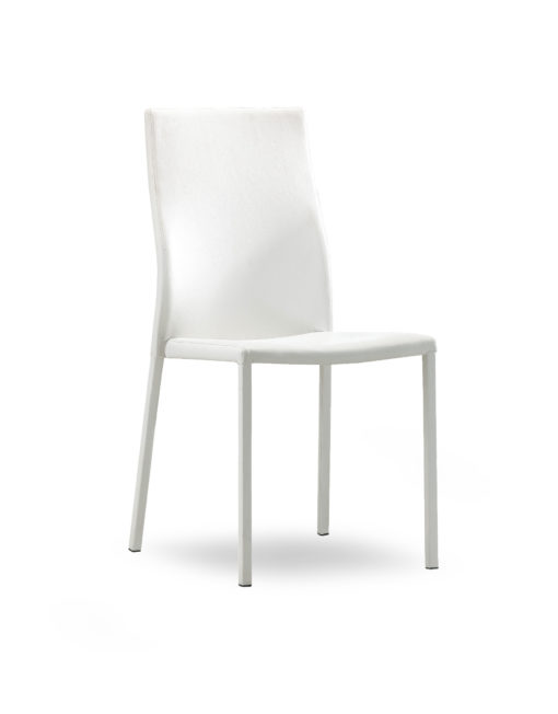 Bella Stacking Chair In White Pu Leather