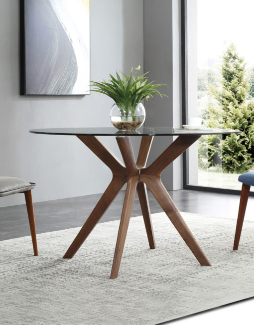 The Branch Round Clear Glass Table With Wood Legs