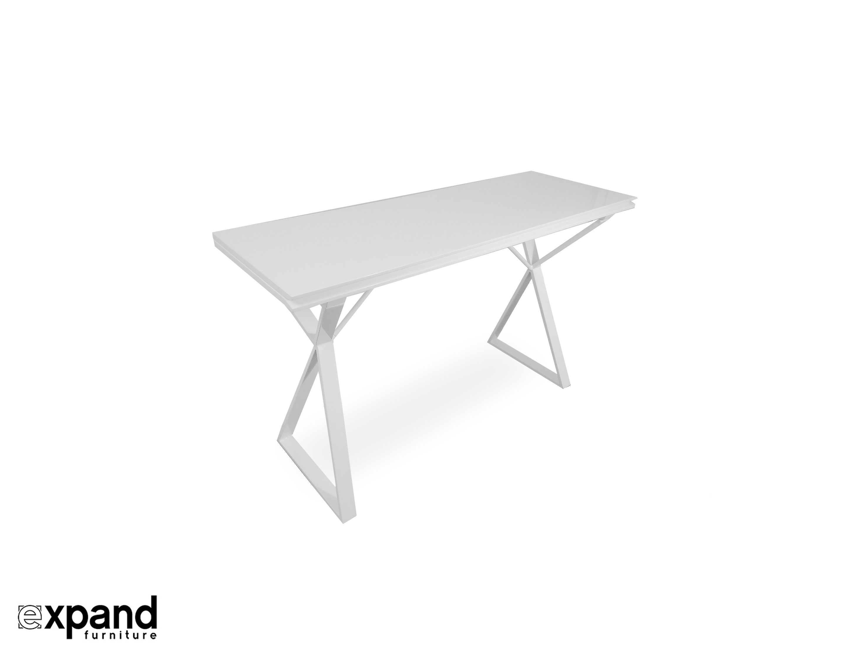 Mondrian Modern White Desk To Dining Expanding Table