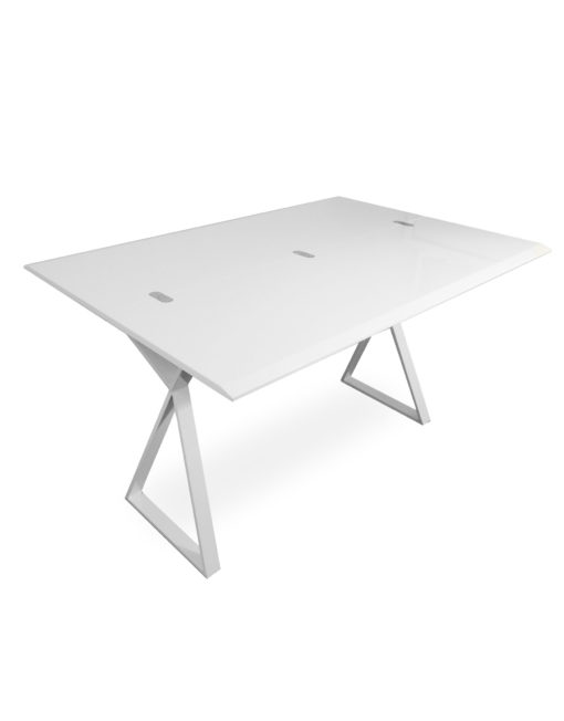 Mondrian: White Gloss Convertible Desk Table