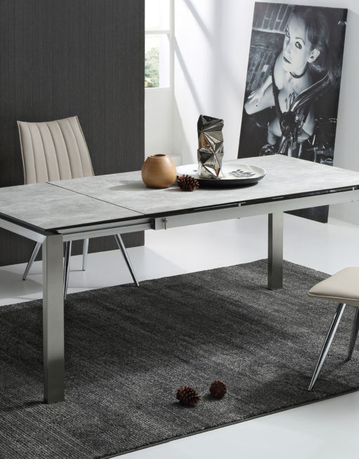 the slate: grey ceramic glass top table | expand furniture
