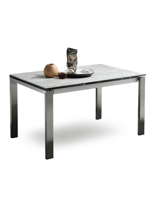 Slate Ceramic Grey Glass Extending Table On Steel