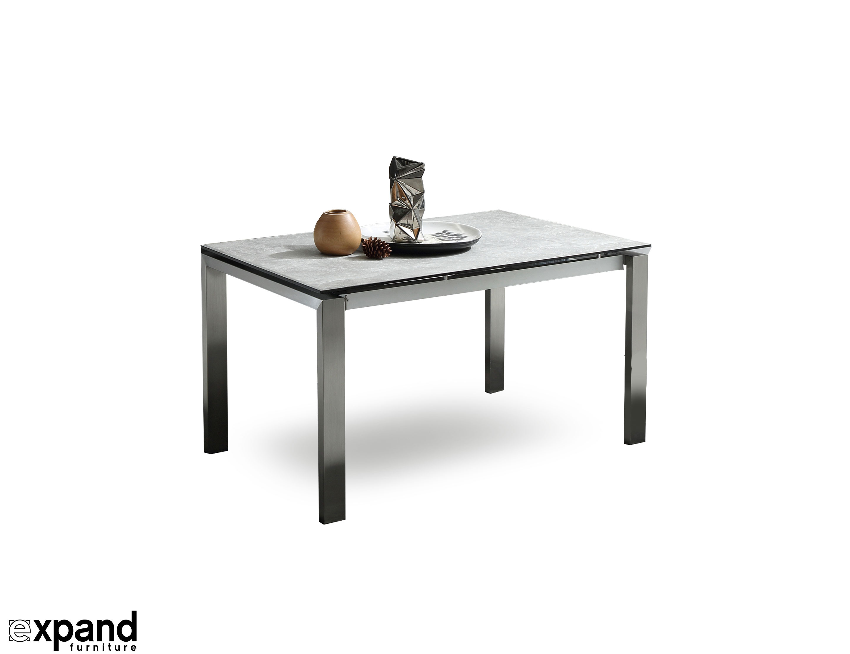 The Slate Grey Ceramic Glass Top Table Expand Furniture