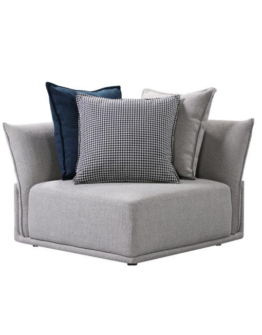 Stratus grey corner modular sofa with 3 cushions