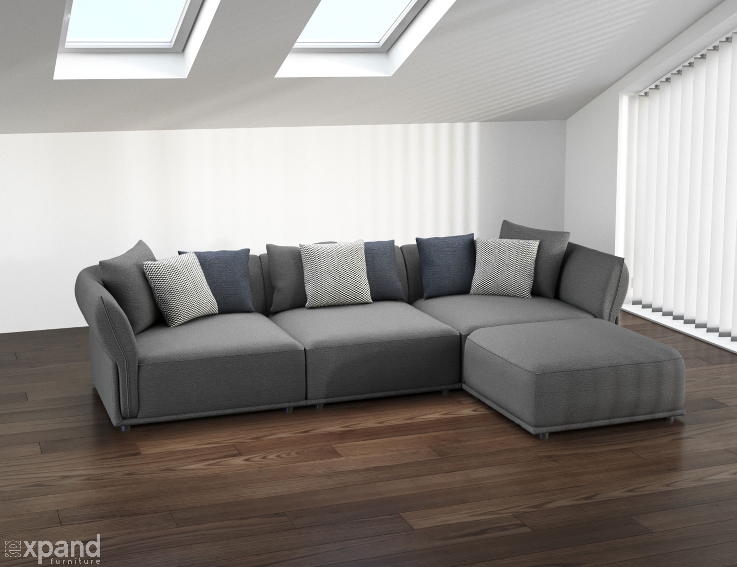 Stratus Sofa: Modern Modular Sectional Set Of 5