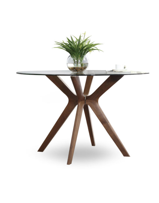 The-Branch-clear-glass-round-table-that-Rests-on-wood-legs
