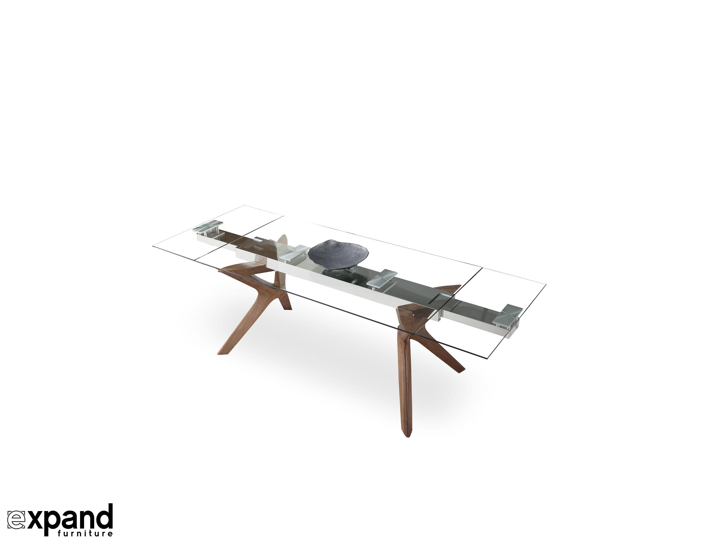 07bf6ba3a9 The Bridge: Clear Glass Rectangular Extendable Table