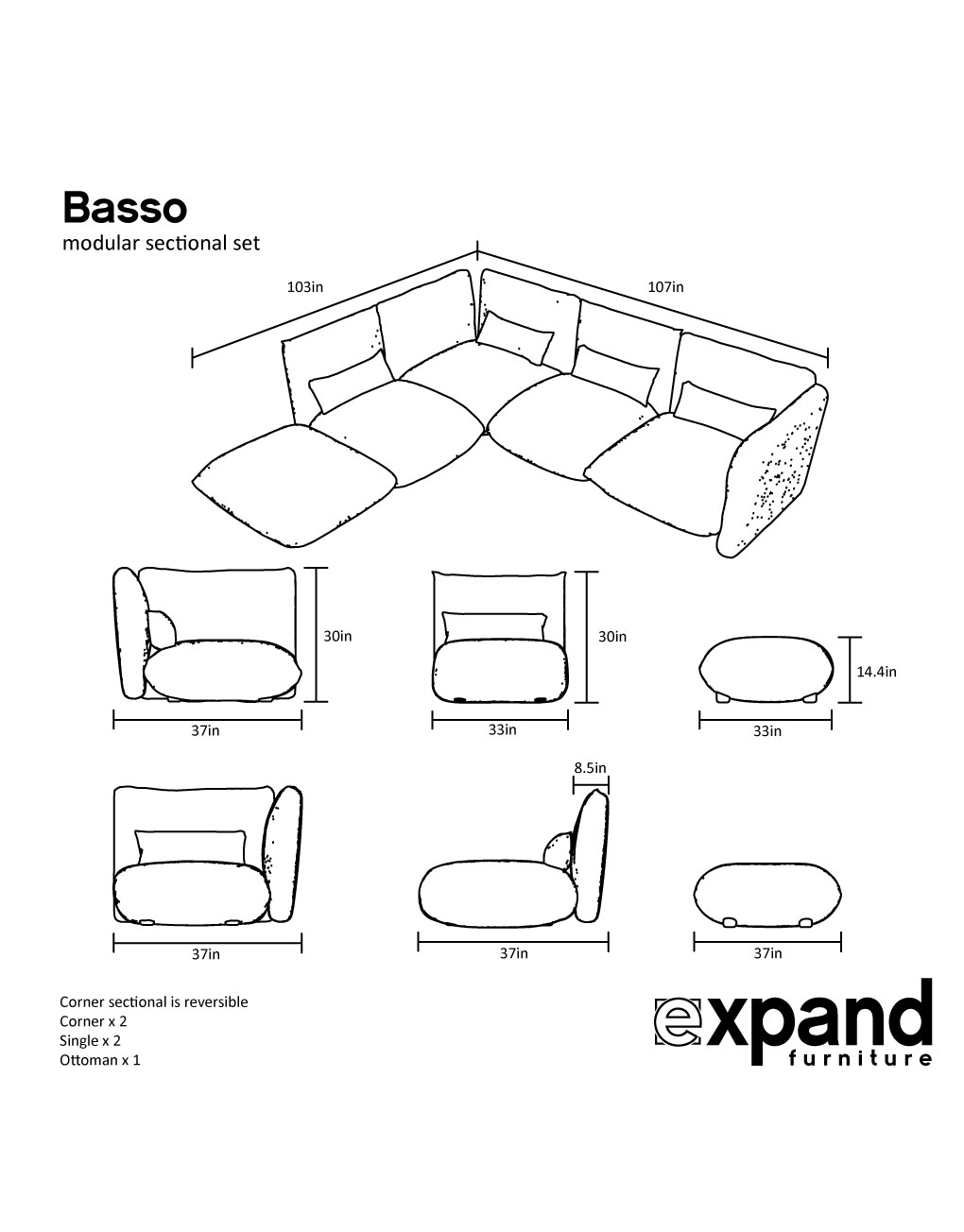 Amazing Basso Modular Low Profile Sectional Sofa Set Theyellowbook Wood Chair Design Ideas Theyellowbookinfo