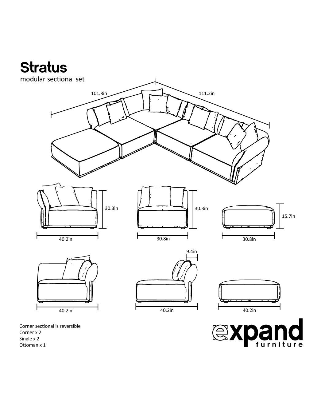 Stratus Sofa Modern Modular Sectional Set Of 5 Expand