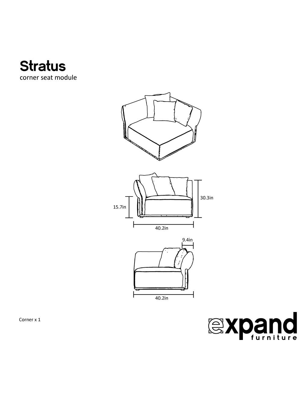 Stratus Corner Couch Modular Sofa Piece Expand