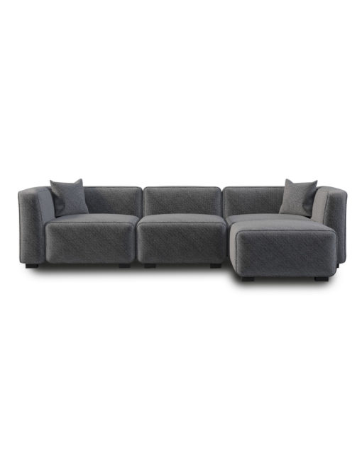 Nice Soft Cube Comfy Modular Sectional Sofa In Grey