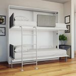 wall bed with a desk that transforms into bunk beds