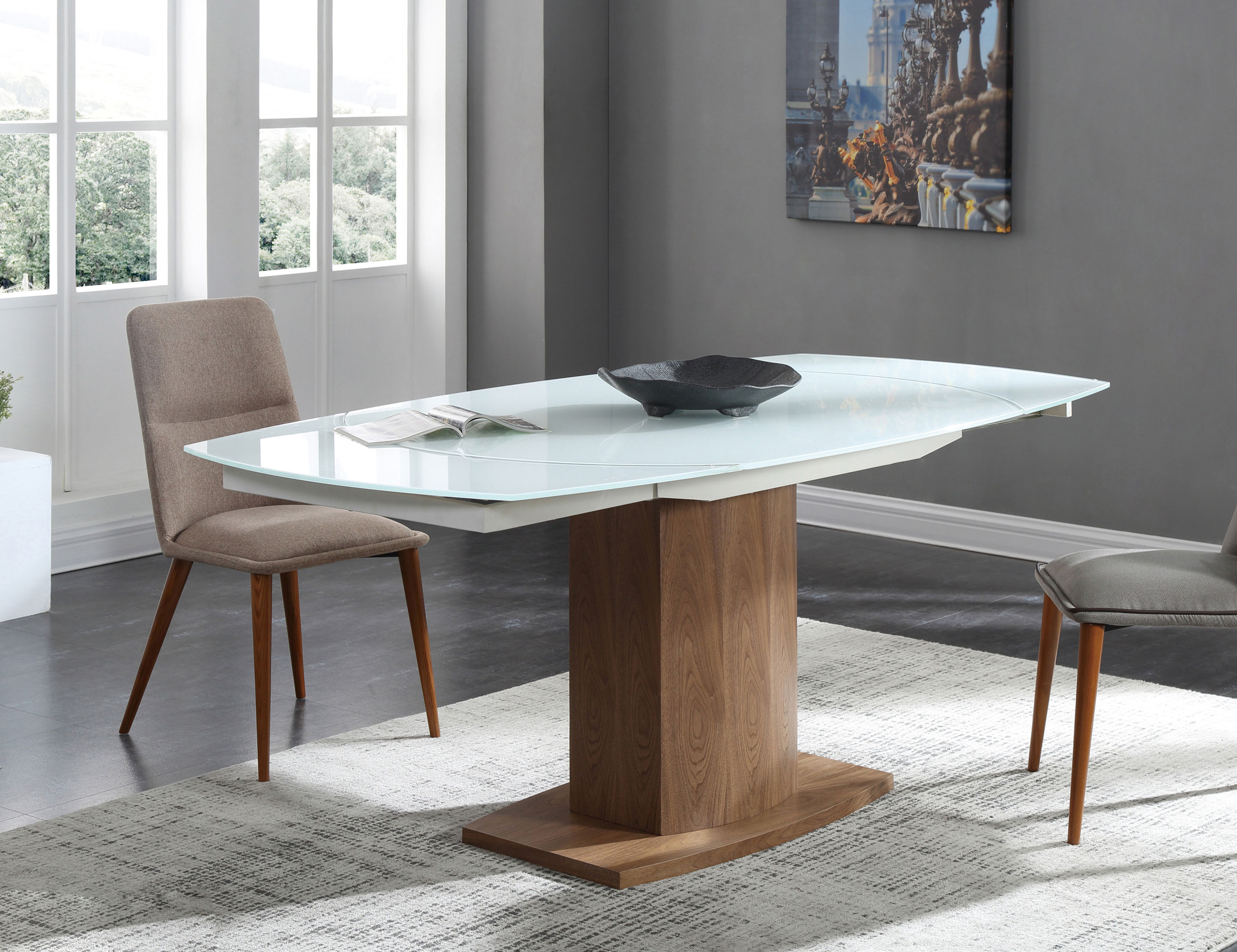 Picture of: Baobab Oval Glass White Extendable Kitchen Table