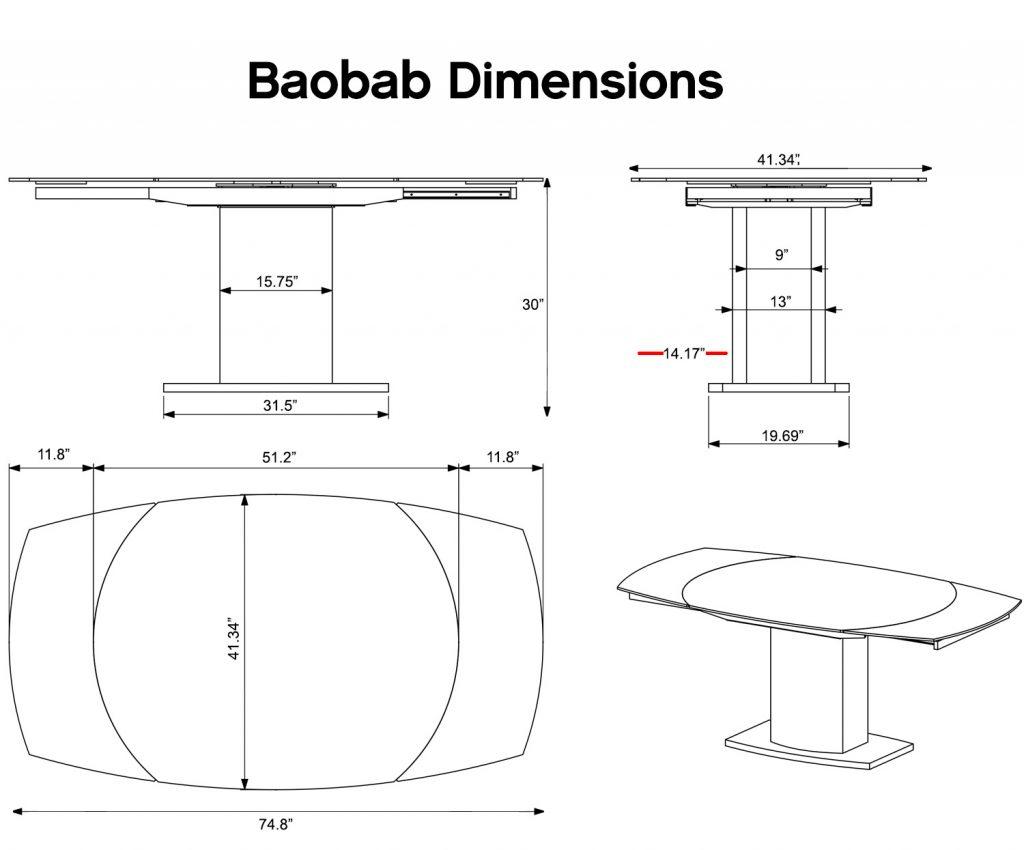 Dimensions of baobab