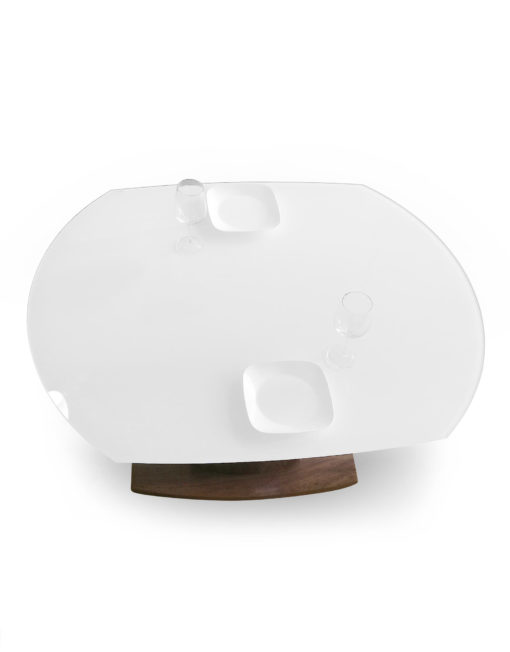 Baobab-round-rotating-white-glass-table-with-walnut-base-compacted