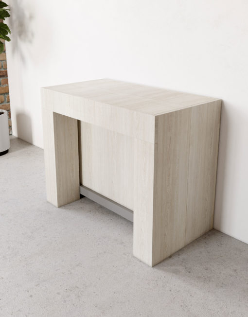 Cubist-extending-console-table-in-Italian-Antico-light-wood---closed