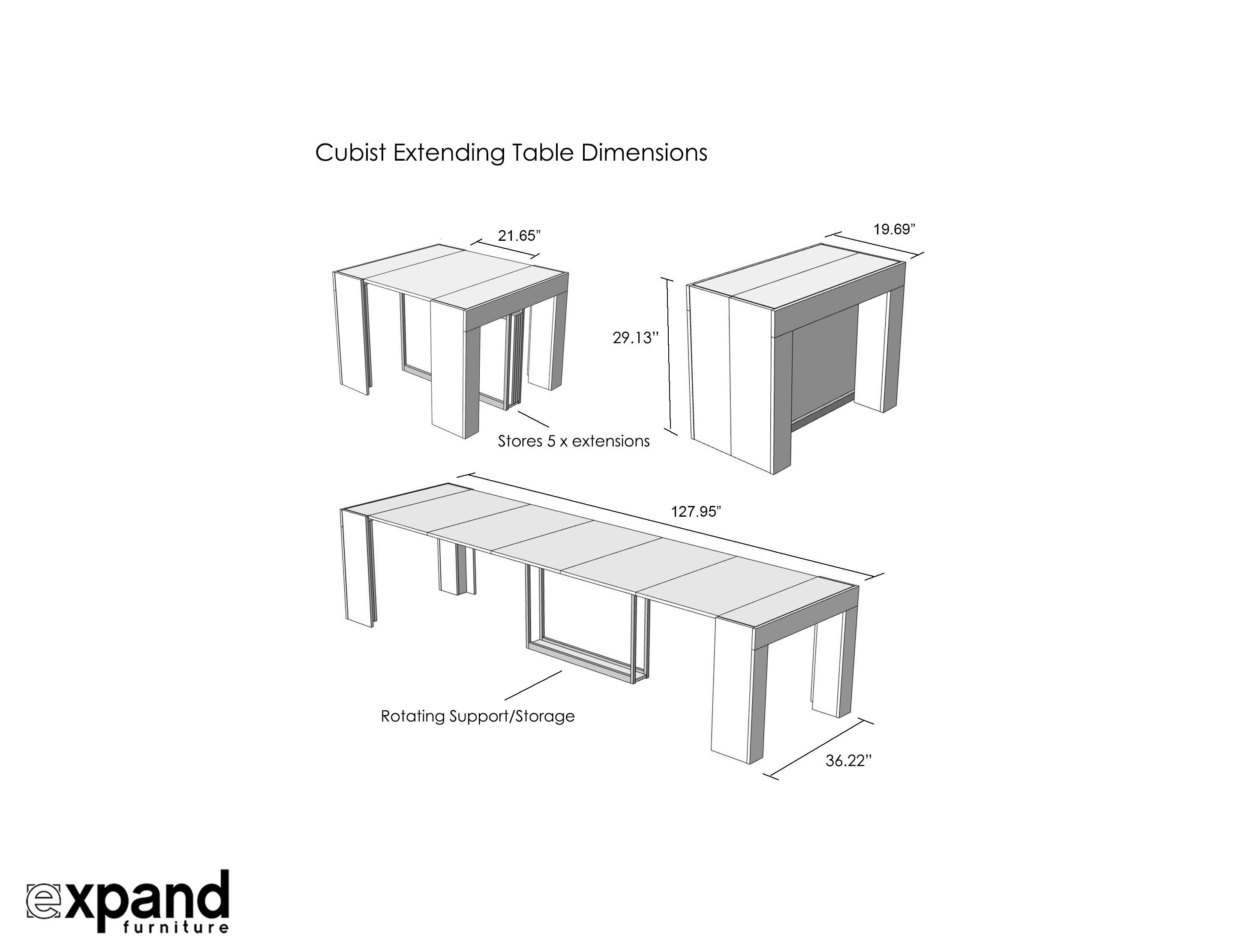 Cubist Table With Built In Extension Storage