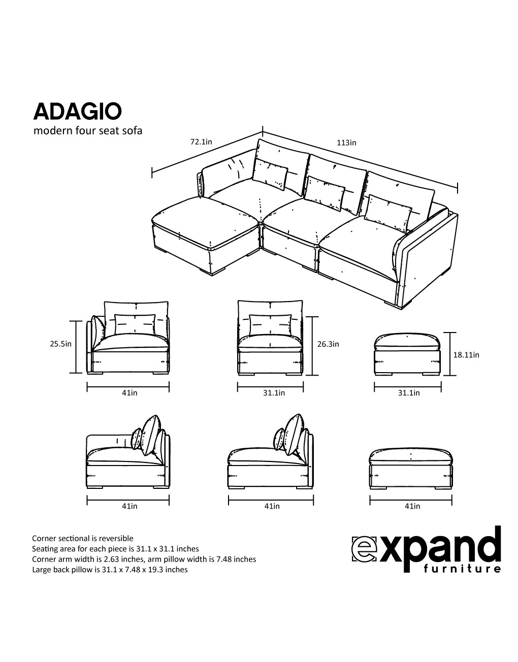 Adagio Luxury Sectional Modular Sofa Set Of 4 Expand Furniture Folding Tables Smarter Wall Beds E Savers