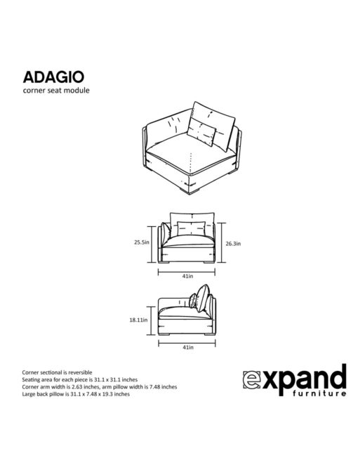 Adagio corner measurements