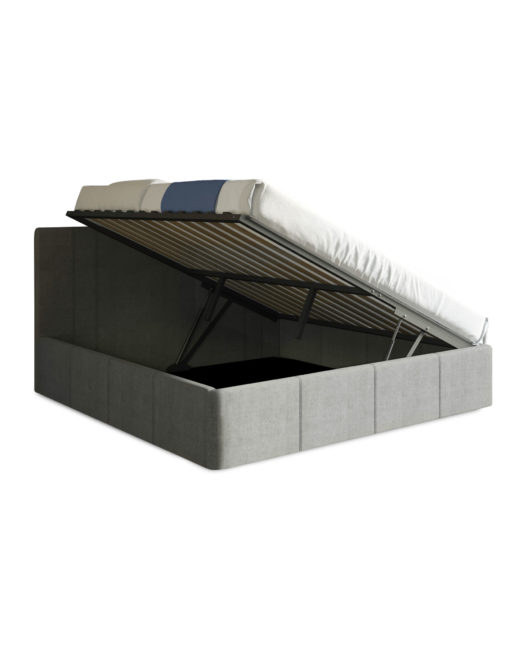 Reveal-King-storage-lift-bed-in-grey-with-open-storage