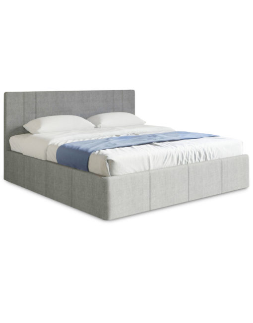 Reveal Queen lift storage bed in new light grey fabric in closed form with hidden storage