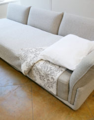 Stratus sofa used as a sofa bed for its flat surface and deep seats