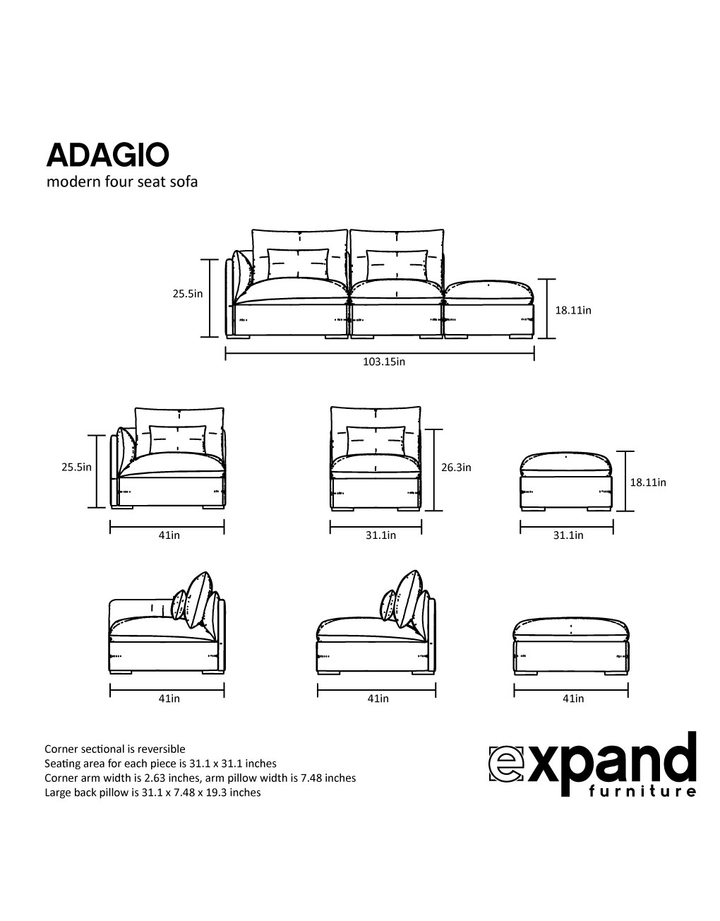 Adagio Modern 3 Seat Sofa Expand Furniture Folding