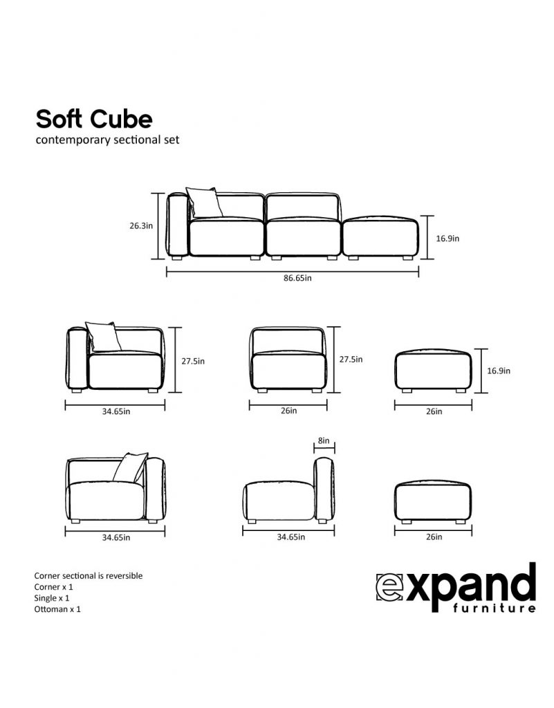 soft cube 3 seat sofa measurements