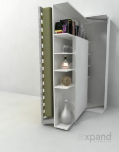 College Wall Bed With Revolving Bookcase and Desk
