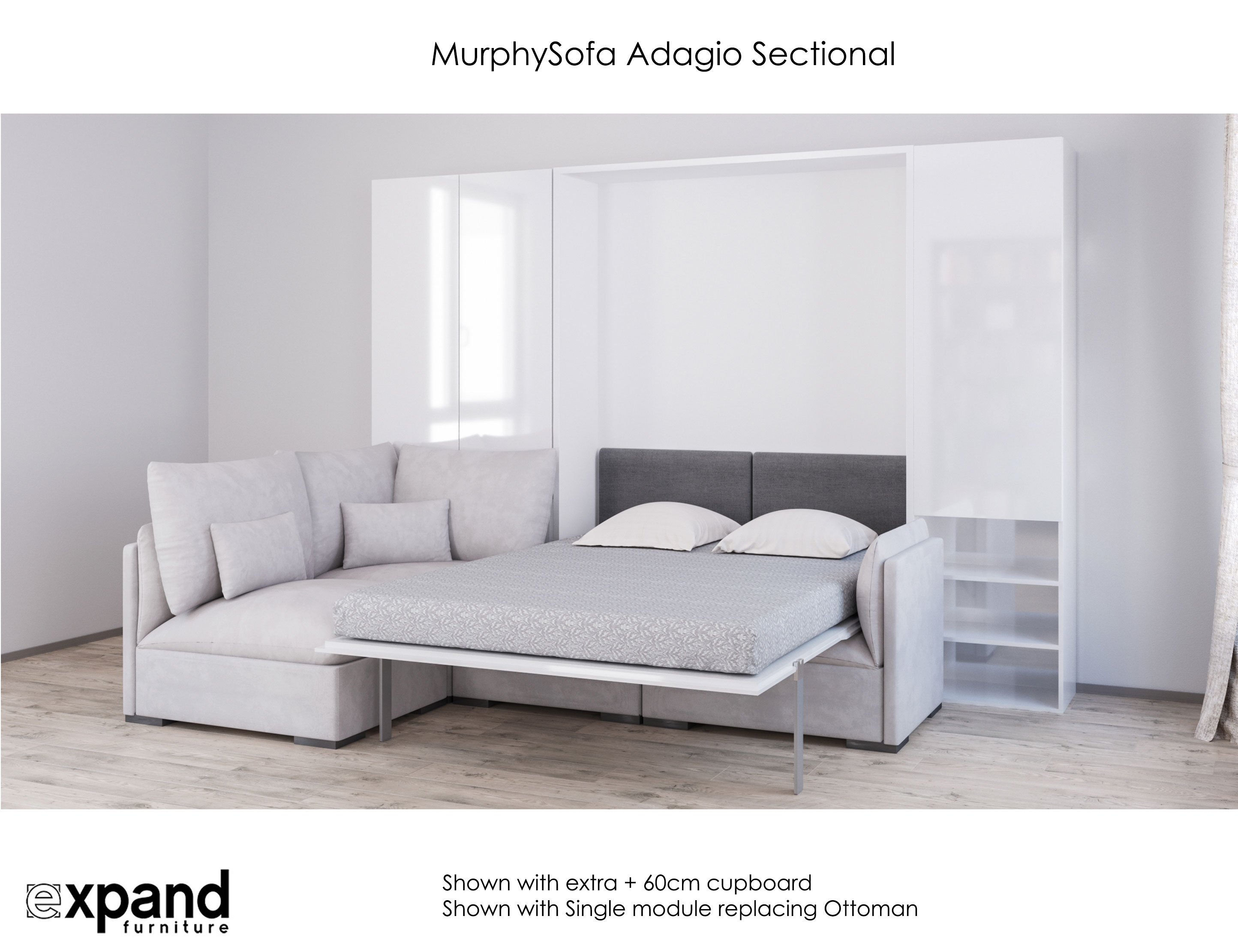 Murphysofa adagio queen luxury sectional sofa wall bed expand furniture folding tables Murphy bed over couch