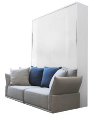 MurphySofa-Stratus-glossy-white-2-seat-sofa-wall-bed-combination-in-grey-with-blue-and-houndstooth-pillows