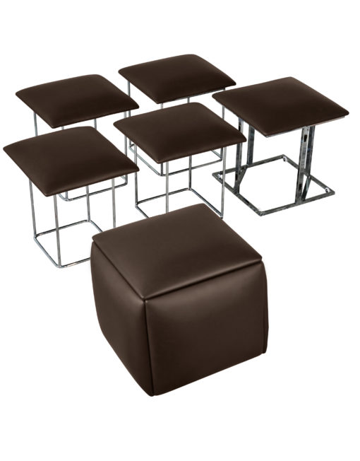 Companion-Cube-5-in-1-seats-in-brown eco leather ottoman space saver