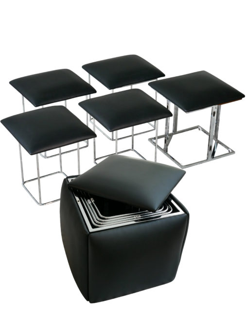 Companion-cube-ottoman-to-5-seat-transforming-chair-in-black-leather