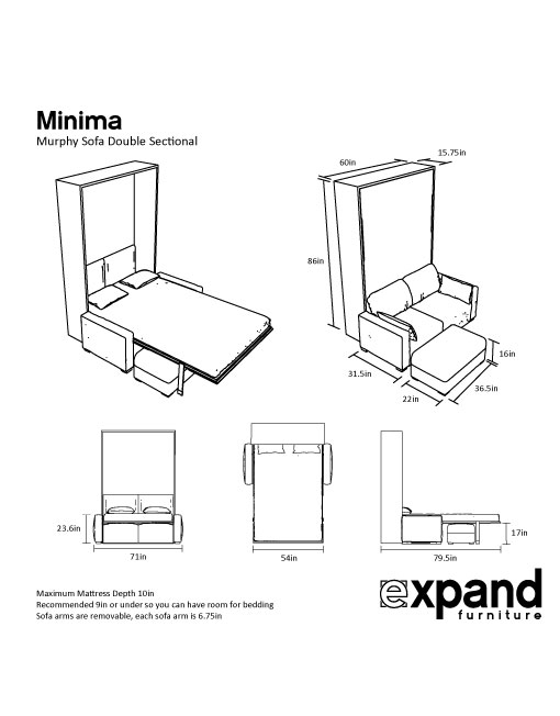Dimensions of the Double sized Murphy Sofa Bed