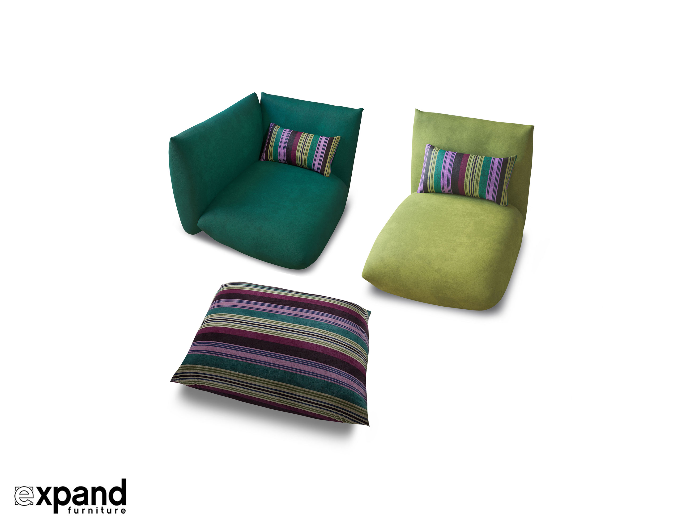 The Contemporary Basso Sofa Trio Set Is Wonderfully Diverse And Playful Offering Fabulous Ease Of Form Function Comfort Super Soft Luscious