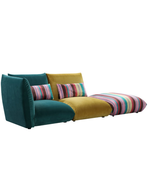 Basso 3 piece modular bubble sofa set in greens and stripes from side