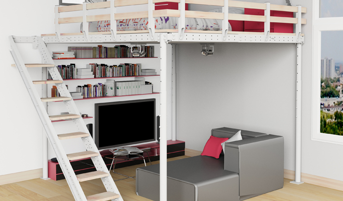 Houston loft bed kit for tiny homes and apartments
