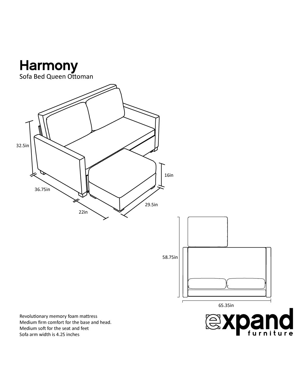 Harmony Queen Size Memory Foam Sofa Bed Expand