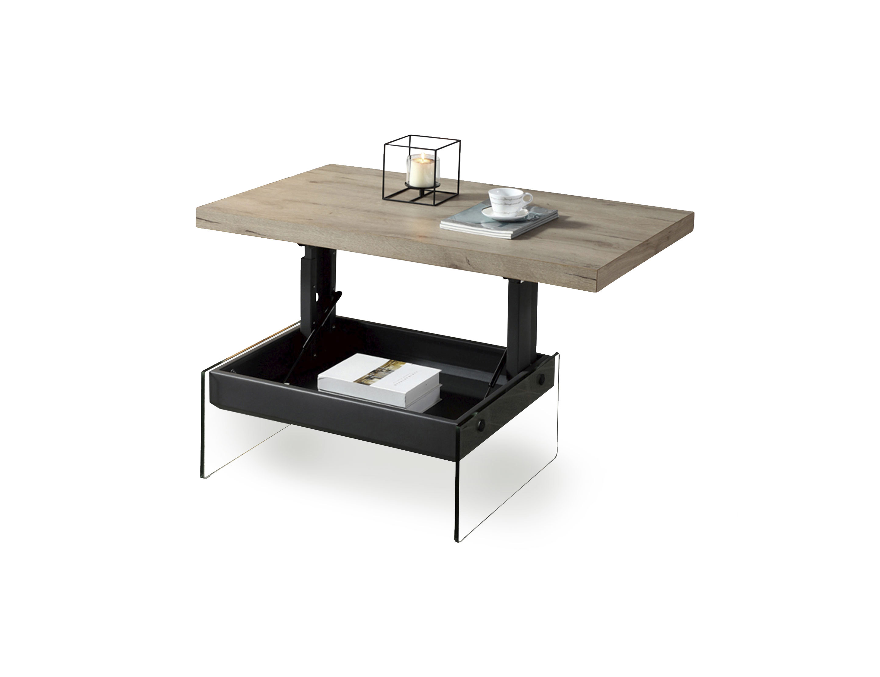The Cadence Wood Lift Top Table With A Glass Base Expand