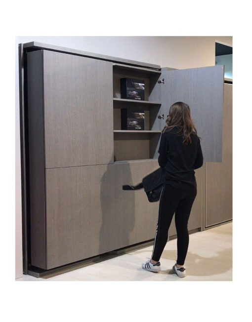 Revolving-Cupboard-wall-bed-with-portion-of-cupboard-open-LMG-Italian-wall-bed