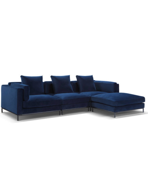 Large Modular sectional sofa with reversible chaise in Navy blue microfiber - Migliore
