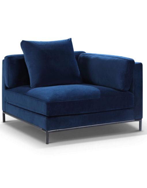 Migliore corner Sofa module in navy blue microfiber fabric with modular design
