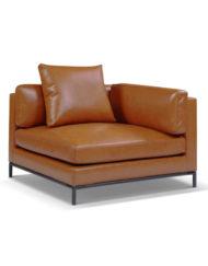 Migliore-corner-leather-sofa-seat Modular leather sofa in terracotta brown orange finish