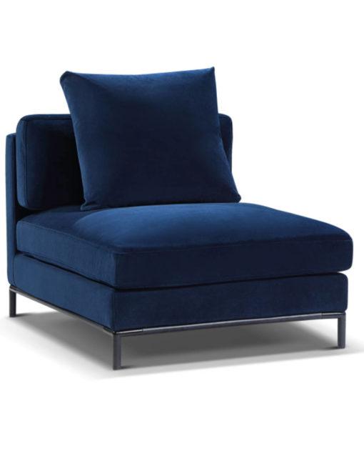 Migliore single Sofa module in navy blue microfiber fabric with modular design