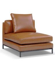Migliore-single-modular sofa seat in genuine leather brown burned orange color