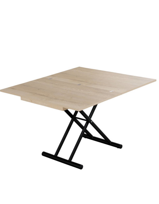 Alzare Grano coffee to dining table in wood grain and black legs open as a dinner table
