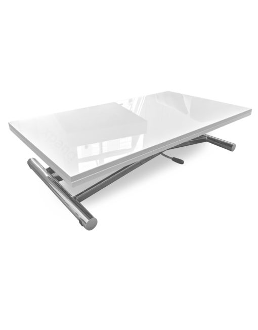 Alzare-Transforming-Table-in-White-Gloss-with-hydraulic-lift