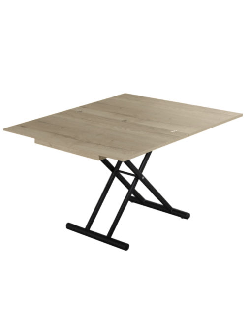 Alzare-coffee-to-dining-table-in-grano-panel-finish-with-natural-wood-grain-and-black-legs-open-as-a-dinner-table