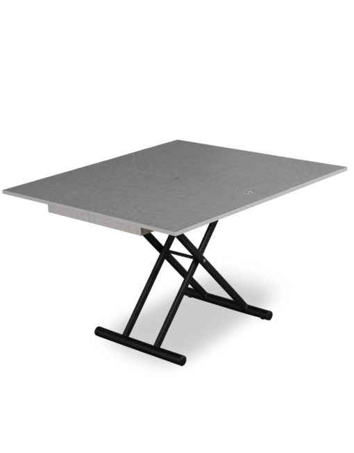 Alzare coffee transforming dinner table height adjustable table in grey concrete with black legs
